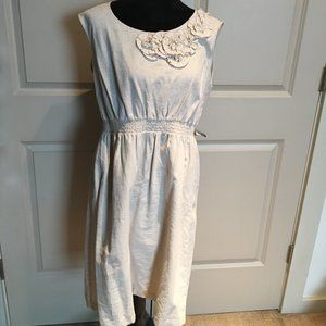 Line and cotton blend dress in tan